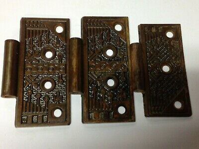 3 Antique Vintage Cast Iron Windsor Victorian Eastlake Door Hinge Leaf Parts