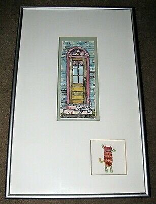 1994 Signed Margaret Michel Watercolor Painting Calico Cat on Door Step