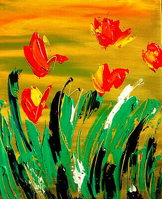 TULIPS FLORAL  Modern Abstract Oil Painting Original Canvas Wall Decor M-YI67I