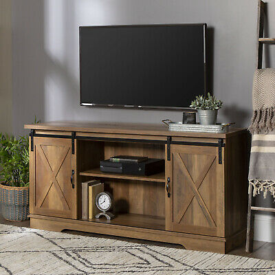 Reclaimed Barnwood Barn Door TV Stand for TVs up to 64 by Manor Park