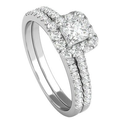 3/4 Ct Tw Diamond Engagement Ring Set In 14k White Gold