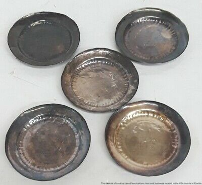 Set Of 5 Signed Japanese Chinese Asian Sterling Silver Dishes 4ozt