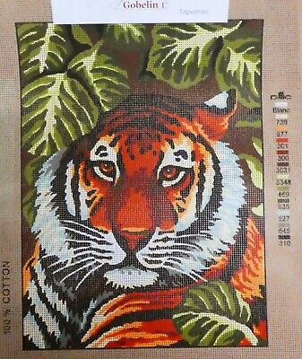 TIGER PORTRAIT - Tapestry Canvas (New) by GOBELIN