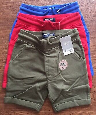 Bnwt Next 3 Pairs Of Shorts - Red, Blue And Green, Size 4-5 Years