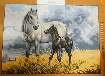 WHITE HORSE AND BLACK FOAL - Tapestry Canvas (New) by GOBELIN