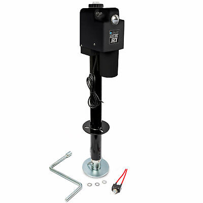 Black Powered A-Frame Tongue Jack + Leveling Cap + Manual Crank + LED Light