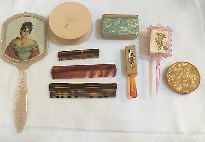 Mixed Lot Of 9 Vintage Vanity Dresser Items Hand Mirror Tortoise Combs  Pink