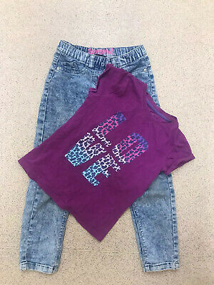 Girl Purple Slogan T-shirt Top And Next Distressed Skinny Jeans 7 Years Old