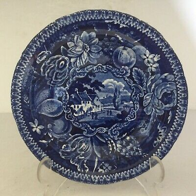 Antique Scenic Staffordshire China Plate SELECT Views HOSPITAL NEAR POISSY