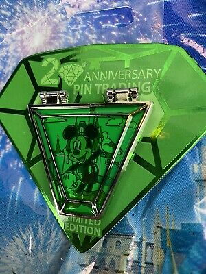 Disney 20th Anniversary Of Pin Trading Limited Edition Mickey Mouse Pin Emerald