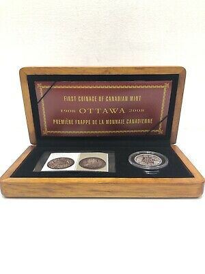 2008 Canada Sterling Silver 50 Cent Coin & Stamp Set - Royal Canadian Mint 100th