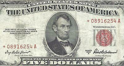 1953A $5 RED Seal *STAR* Legal Tender ~UNITED STATES NOTE~ Old US Paper Money!