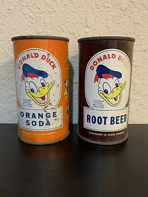 Donald Duck Orange Soda and Root Beer Flat Top Soda Can