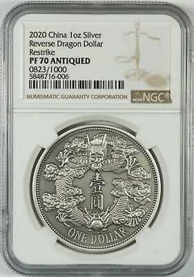 2020 China Antiqued 1 Oz. Silver Reverse Dragon Dollar Medal Restrike NGC PF70