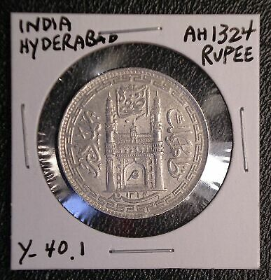 AH 1324 HYDERABAD India Rupee Y-40.1 silver coin