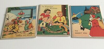 A Trio Of Vintage Christmas Cards Rare Collectable.