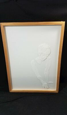 "Joey Bates Paper Cutting Female Portrait Framed Art 23""x17"""