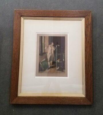 W.A. Cox Artist Proof 18th Century Man Playing Flute by Window Framed 21x25