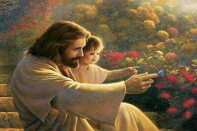 5D Diy diamond painting  full drill 20 X 30 CM- JESUS LOVES THE CHILDREN-  USA