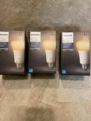 3 Philips Hue White Ambience A19 2000 - 6500 K Warm to cool 1 pack bulbs E26