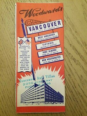RARE 1956 Woodward's Greater Vancouver & Island BC Canada Guide City Street Maps
