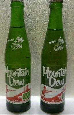 Lot of 2 Rare Vintage Mountain Dew Soda Bottle No Moon Hillbilly 10 oz Unopened