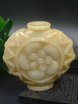 Chinese Antique Celadon Nephrite Hetian-OLD Jade FLOWS statues Snuff bottle