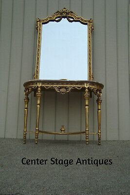 60955 Marble Top + Wood Carved Console Table with Mirror
