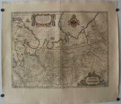 Northern Russia Baltic Countries 1649 Blaeu Unusual Antique Copper Engraved Map
