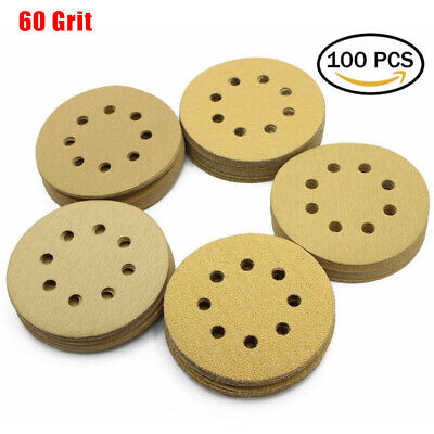 100PCS 5'' 8 Hole 60 80 120 150 240 320 Grit Dustless Hook And Loop Sanding Disc