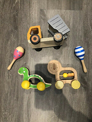 Baby wooden toys x 5 Rottle Rattles cars Trucks