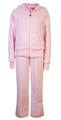 Childrens Velour Tracksuits Hoodys Joggers Set Girls Lounge Suit Pink Age 7-8