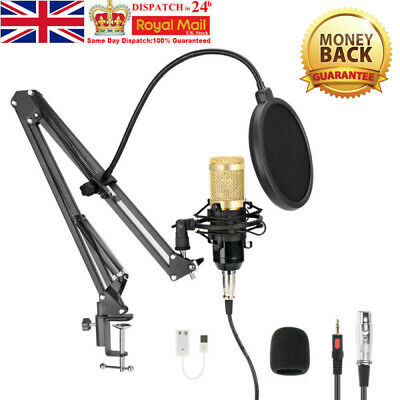 USB Streaming Podcast PC Microphone Studio Cardioid Condenser Mic Kit Widely Use