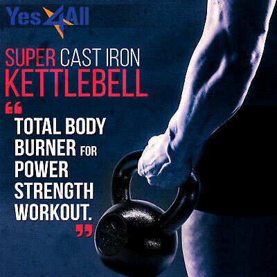 Yes4All Kettlebell 5-80 Lbs Solid Cast Iron Weights Lifting Workout Gym Fitness
