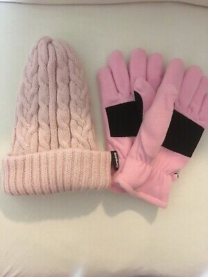 Womens Aris 115 Heavy Knit Acrylic Winter Hat Pastel Pink Thinsulate Gloves Set