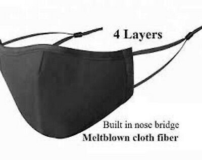 Cotton Face Mask Four Layers Black Reusable  Breathable Filter pocket and filter