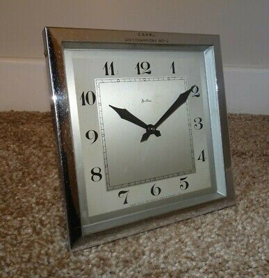 Vintage 1950's Bentima Chromed Square Mantel Clock with Winding Mechanism (Time)