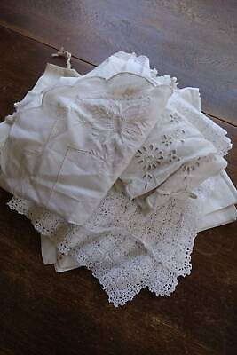 Bundle 15 items of vintage white linen with lace and/or whitework embroidery.