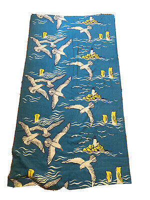 "Vintage Terry Beach Towel Seagulls  64"" x 36"""
