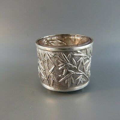 Chinese Export Silver Salt Cellar in Bamboo Leaf Design glass liner