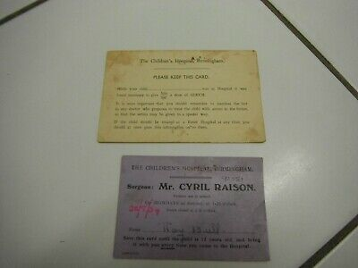 1930's Birmingham children's hospital cards Cyril Raison