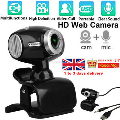 360° Webcam with Microphone USB Driver-free Web Camera for Laptop Computer PC UK