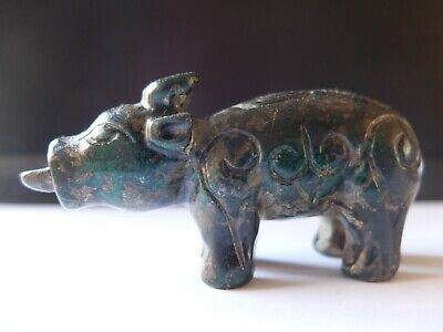 Chinese Qing Dynasty mottled green hardstone carving of a water buffalo.