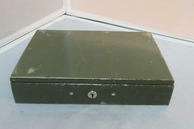 Vintage Green Metal Lockbox with Cash and Change Insert