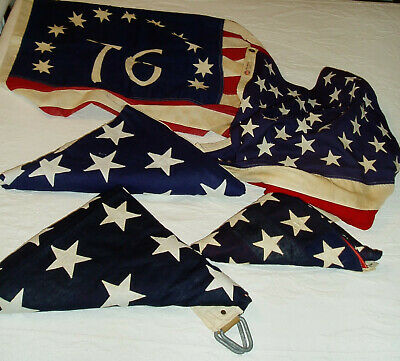 Five-Piece Lot Vintage American Flags, 48/50 Stars/Bicentennial/Used/Ships FREE!