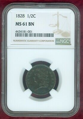 NGC MS 61 Brown 1828 Half Cent--Looks Much Better!