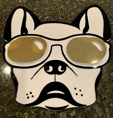 "3D French Bulldog With Gold Sunglasses Wall Art 24"" X24"""