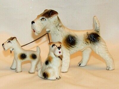 Vintage Pottery Airedale Terrier Family Attached With Chains