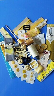 Vintage Sewing Notions Lot Yellow Grey