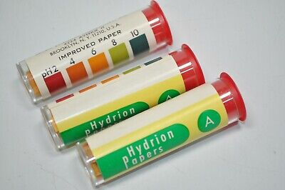 Lot of 3 Vials of 100 Stripes - PH Hydrion Paper Test Strips 165/A Range 2-10